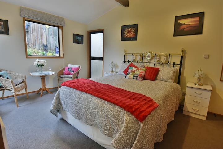 Comfortable queen-size bed, own entry.