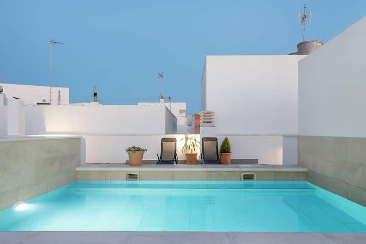 Ferienwohnung 'Apartamento Wamba Bajo Izquierdo' mit Meerblick, WLAN, Pool, Terrasse und Klimaanlage; Parkplatz vorhanden