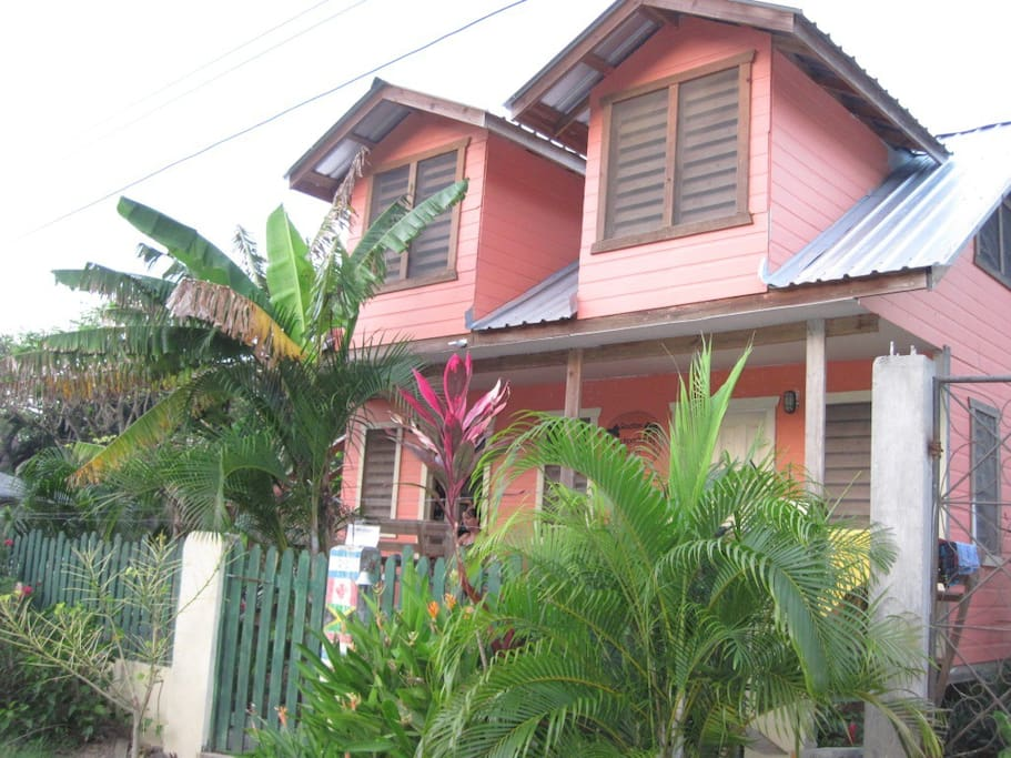 Room is in the main building of the Roatan Backpackers' Hostel