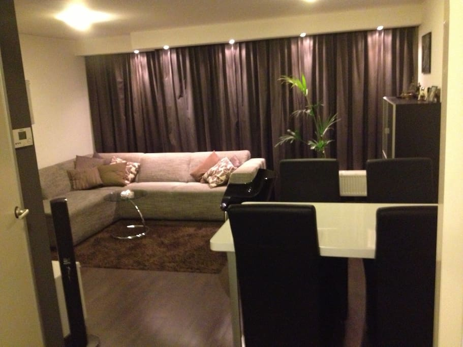 This Nice comfortable living room gives acces to a french balkony which allows you to overlook the street with al Its bars restaurants and clubs!!