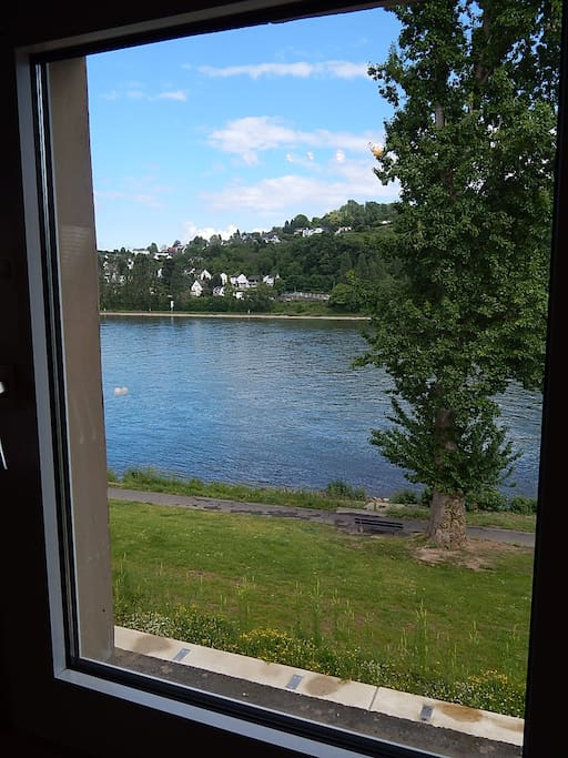Blick aus einem der Fenster im Wohnzimmer auf den Rhein