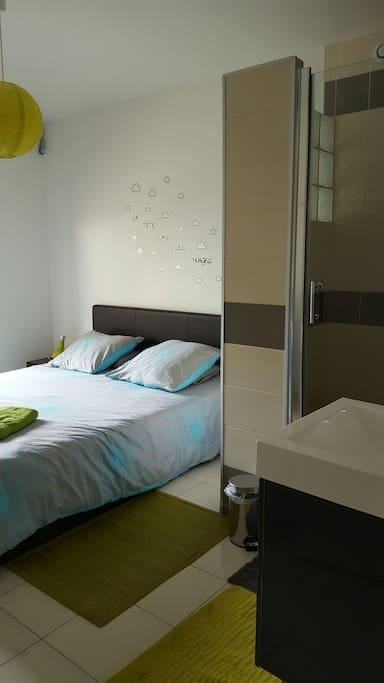 Chambre agréable avec lit de 160*200 et grande douche de 120 *100 dans la chambre.