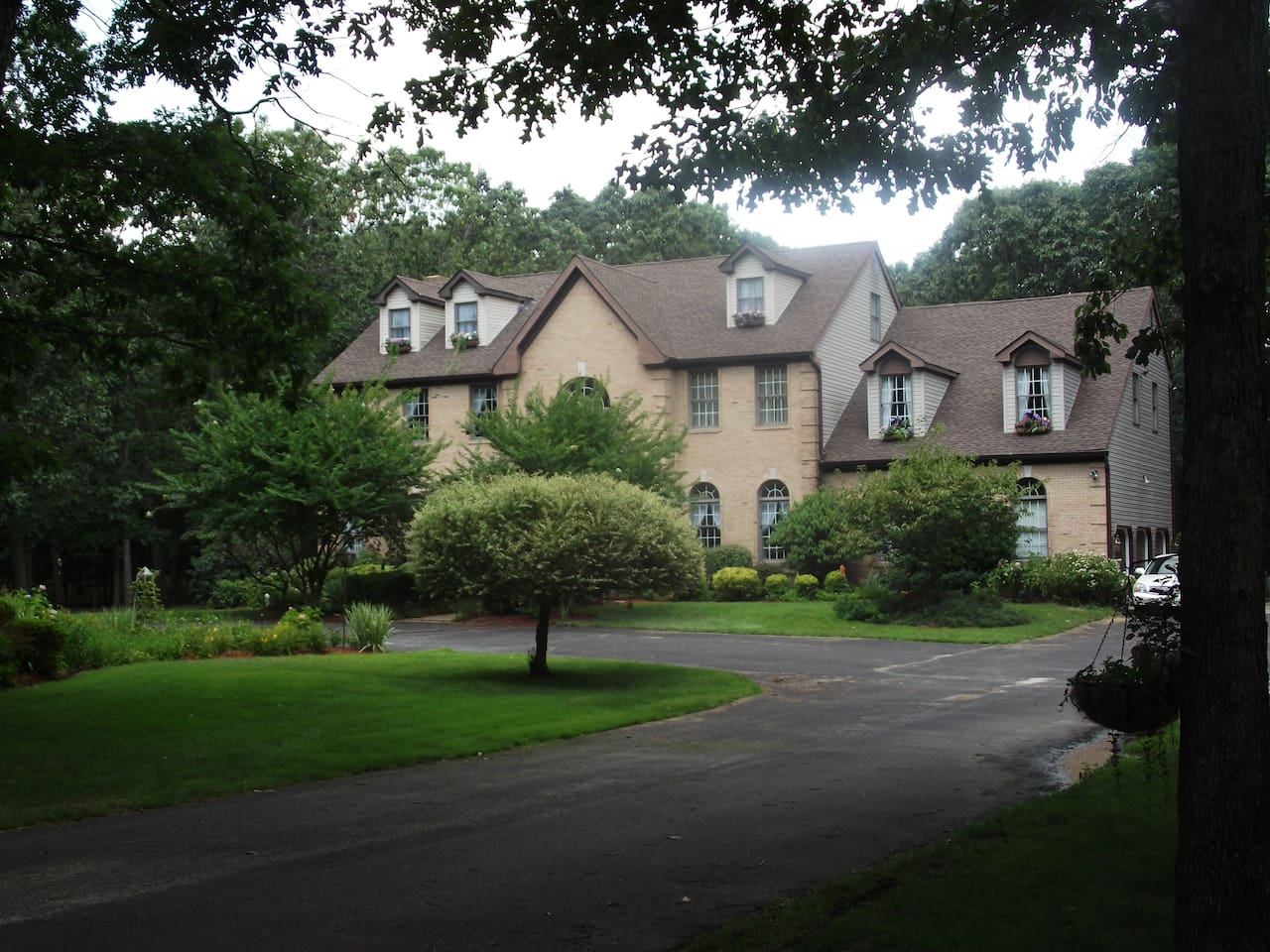 Large home on 28 acres.  Manicured lawns and park like setting.