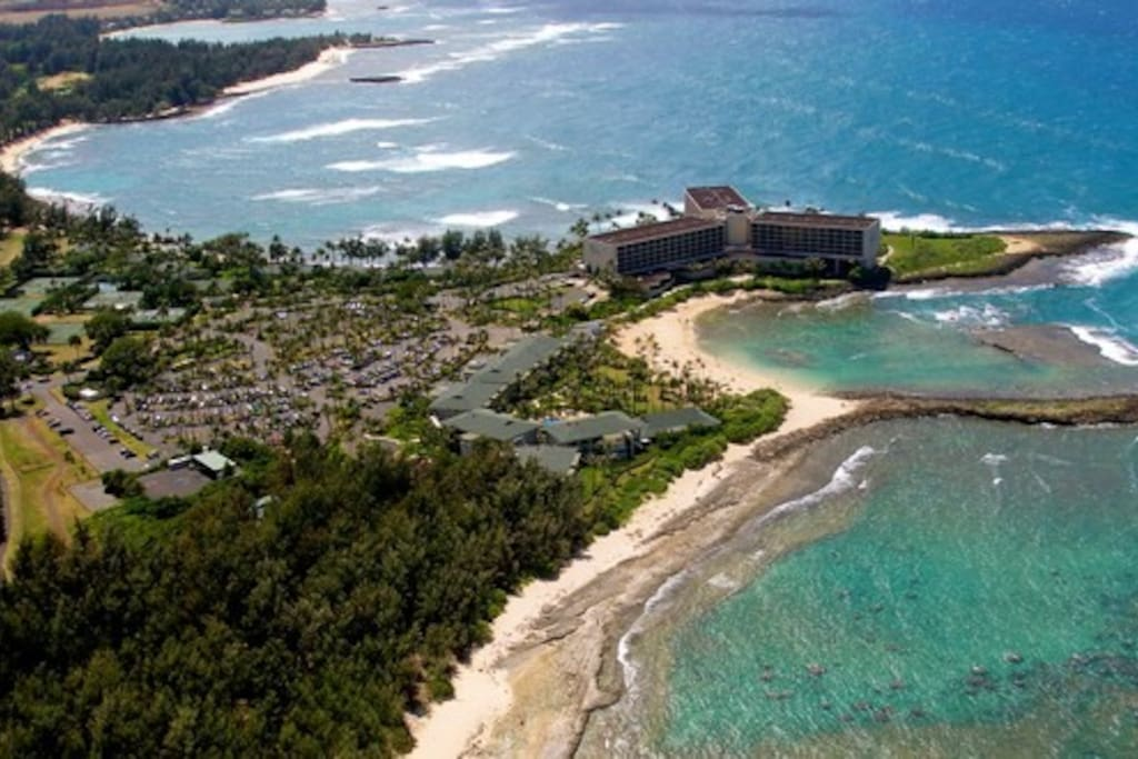 Aerial view of Kuilima Condos at Turtle Bay Resosrt