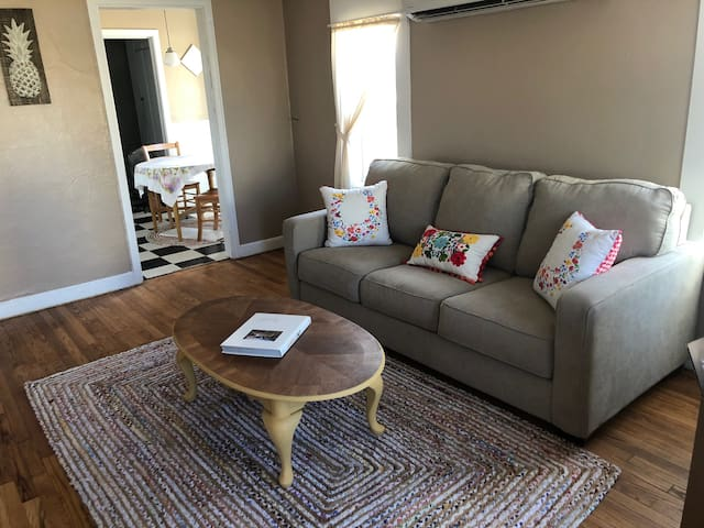 Comfy living area with sofa bed