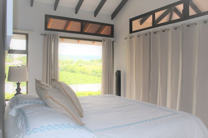 King size bed with a marvelous 180 degree view . AC - TV Cable - Free WIFI and kitchenette.