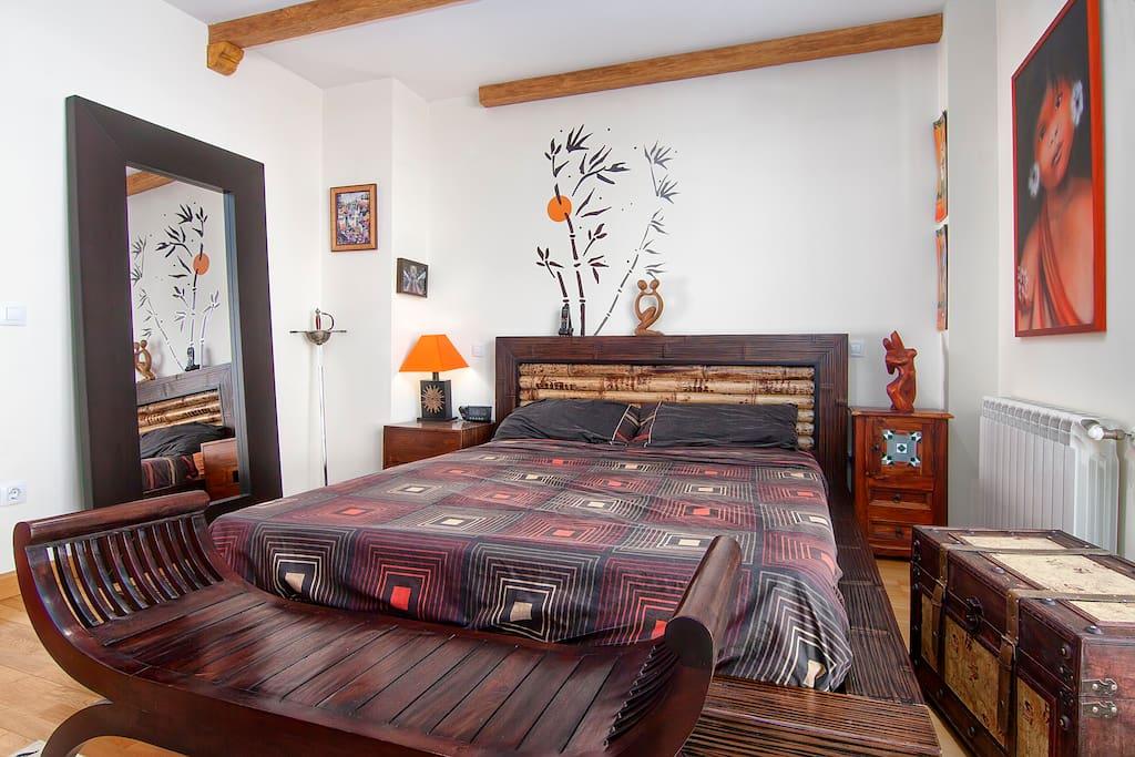 dormitorio dormroom, cama de bambu 1,60 vicolastic