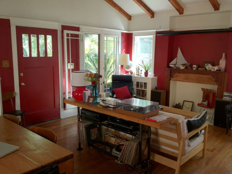 Tons of light all day through the living room windows! Access the deck from the front door.
