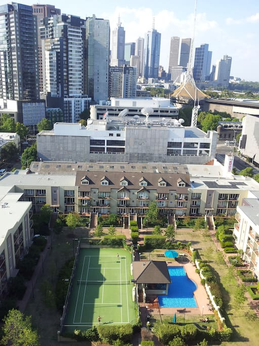 A birds eye view of the complex from the building next door