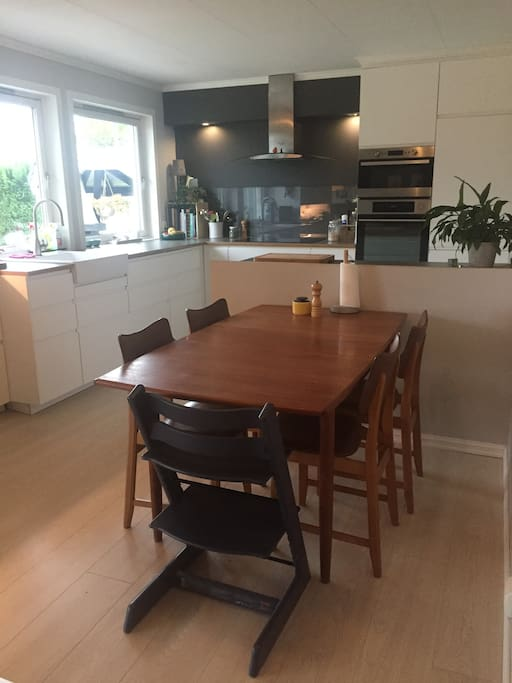 Kjøkken, med vindu ut mot hagen
