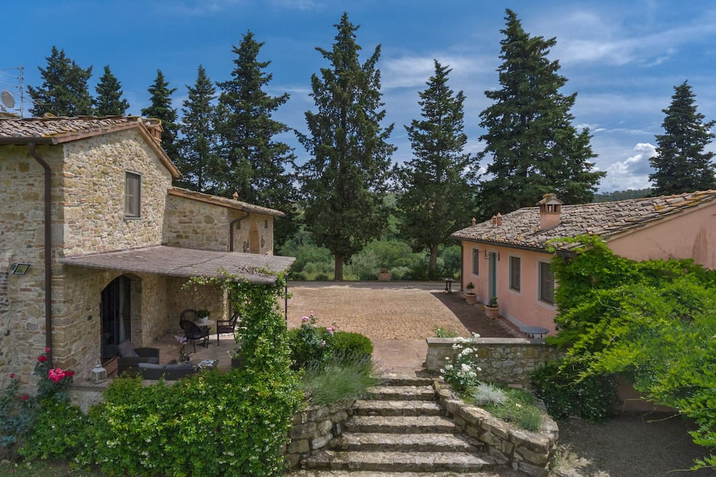 The whole property is reserved for you only (not shared): private inner road garden, pool and private road, pool and garden. The adjacent depandance is closed and empty