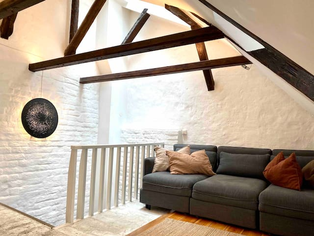 Living room with high ceiling and very old wooden beams. The sofa beds can be made as three single beds.