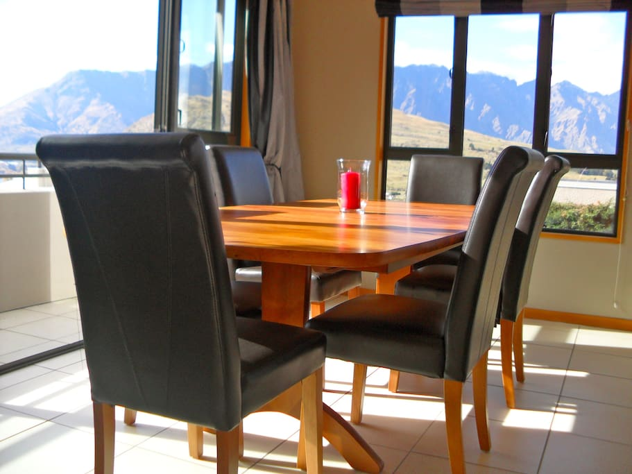 Dine with views of the lake and mountains