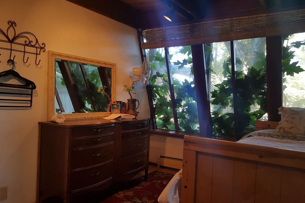Gorgeous greenery right against your window.  Guests feel hugged by nature and refreshed with quiet serenity