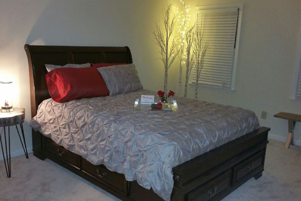 """The Modern Woodland"" Queen Bedroom has LED faux birch tree lighting and Eidson bulb table lamp--Connecting private bath with shower, push button toilet and modern vanity lighting--Television in room with Directv; Some toiletries provided"