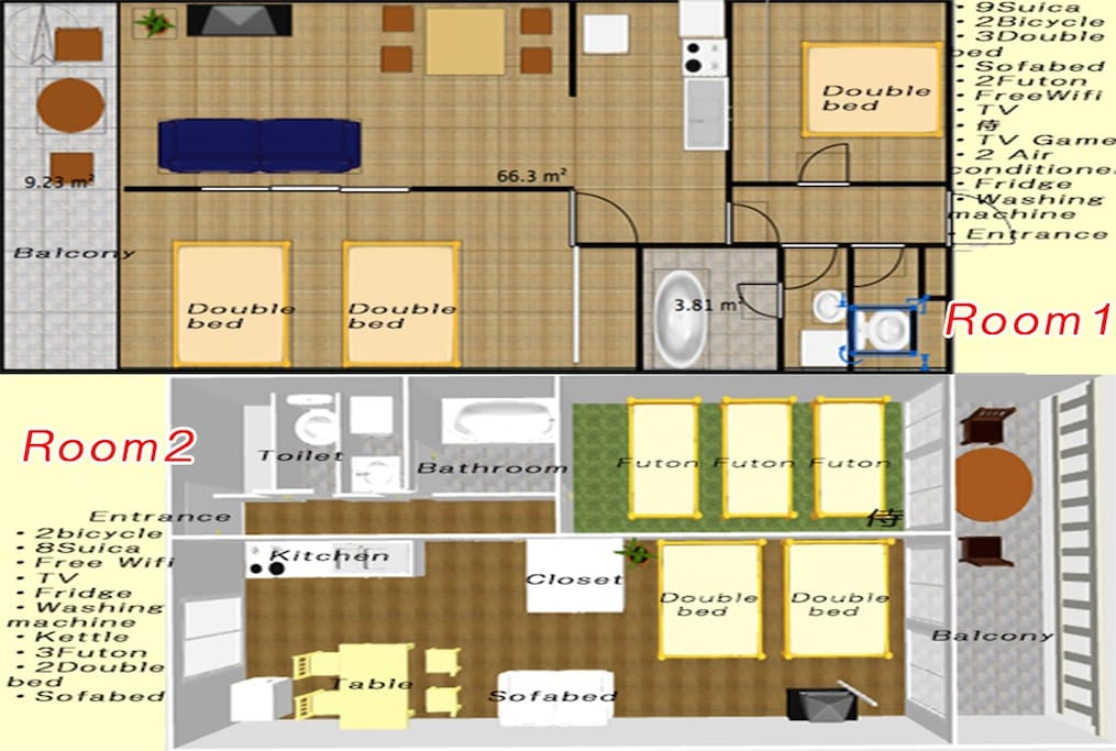 House map Room1 and Room2