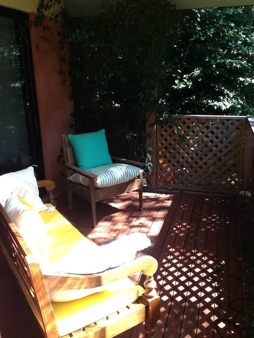 Your own private sunny deck with direct access to the garden