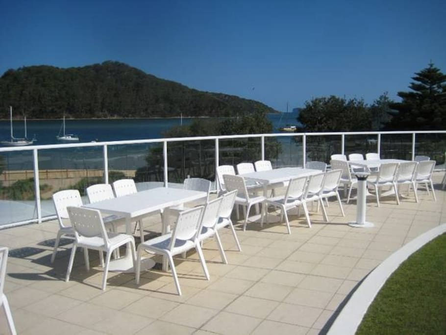 The pool terrace, with great views towards the ocean