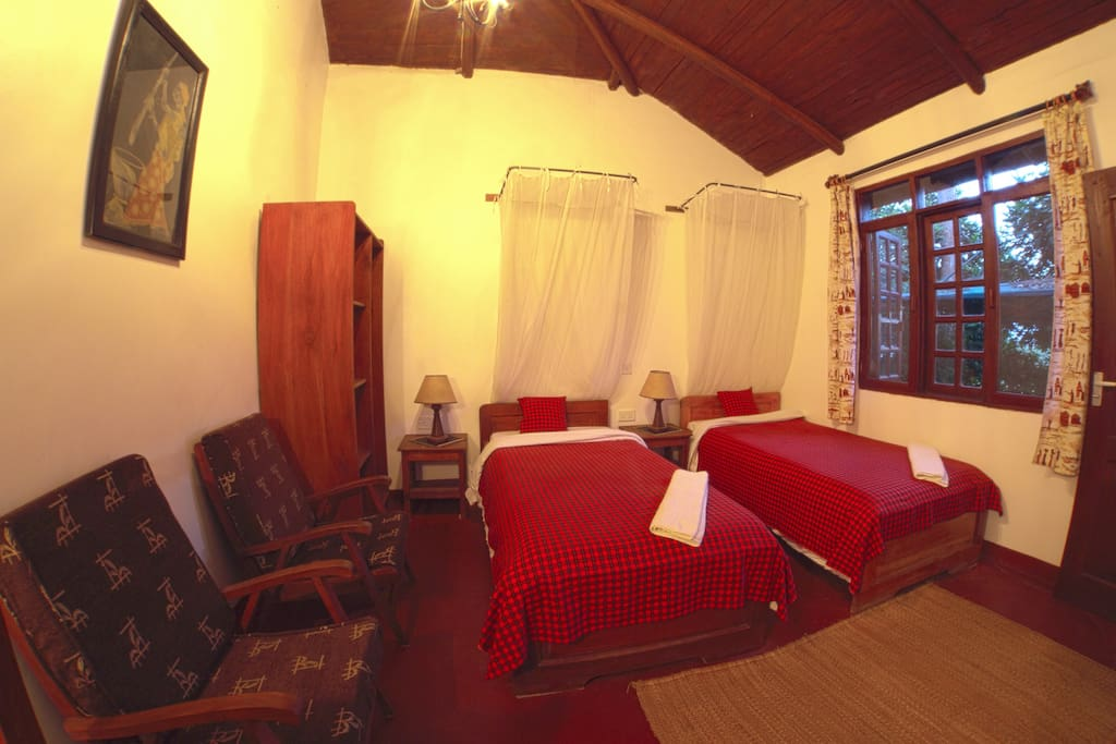 Our Standard room with twin beds and self contained bathroom...