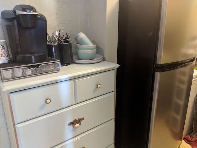 Hallway access to Keurig & Apartment Size Refrigerator/Freezer