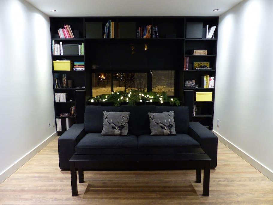 Salon #1 et grande Bibliothèque intégrée autour de la fenêtre