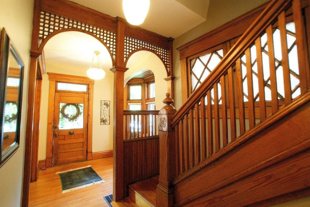 Intricate wood in the entryway.