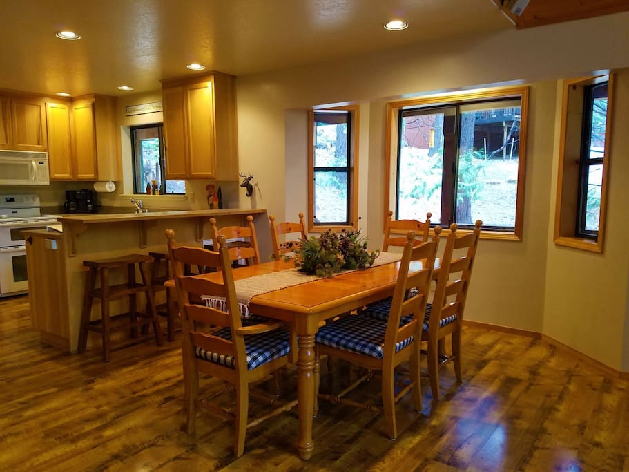 Enter into the open living and dining area