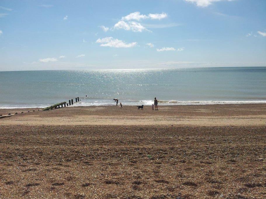 pebble  and sandy beach - wonderful sea views