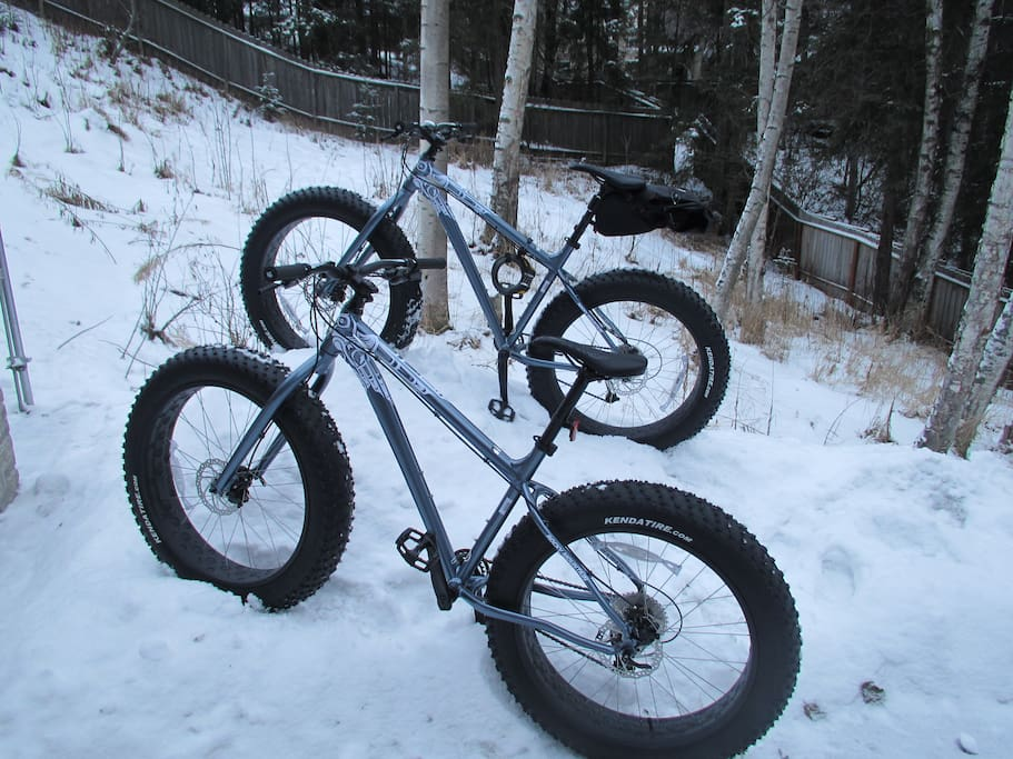 I have you covered for winter biking. Not as fast as regular bikes, but these fat tire bikes will take you over snow and ice where skinny tires fear to tread.