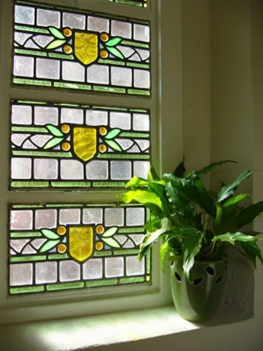 Entrance stained glass window