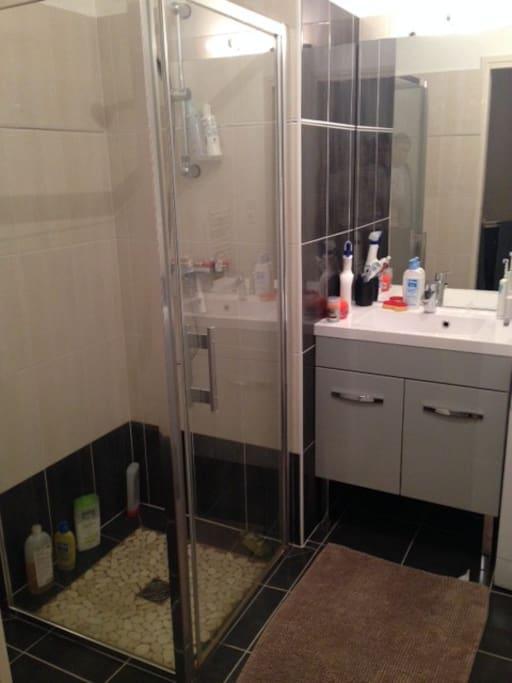 Salle de bain moderne, lave linge, douche à l'italienne