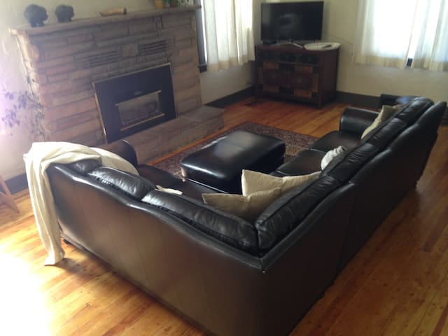 Leather comfy couch in common area for you