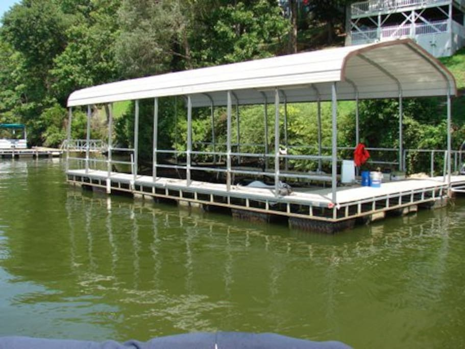 Boat dock at bottom of hill