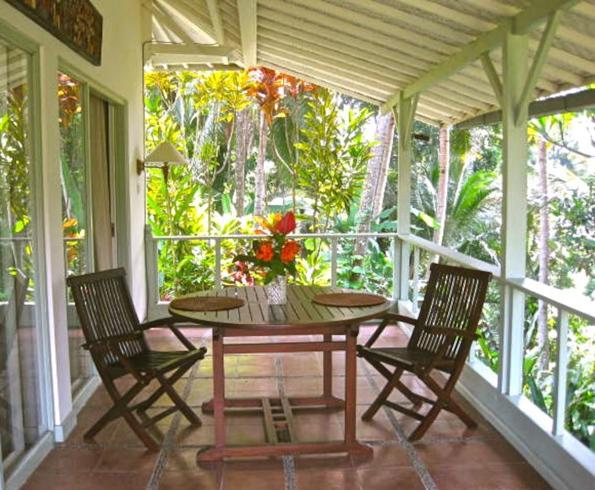 Bedroom Verandah with Jungle River Gorge and Rice Paddy Views