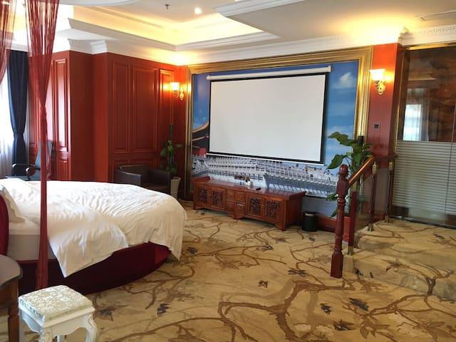 江汉路地铁步行街江滩武广协和中式奢华大床房
