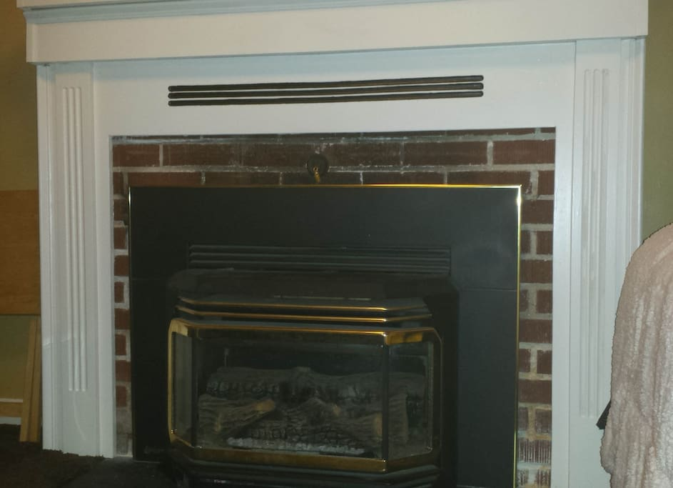 Cozy gas fireplace located in basement.