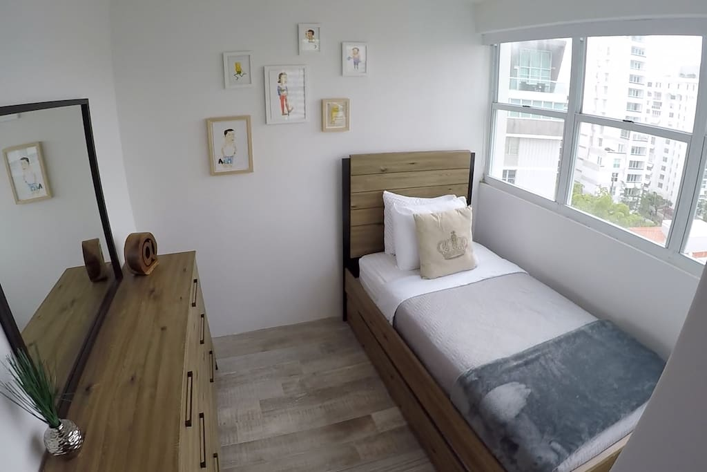 Second Bedroom with Twin Bed with Trundle Bed and Drawer Chest