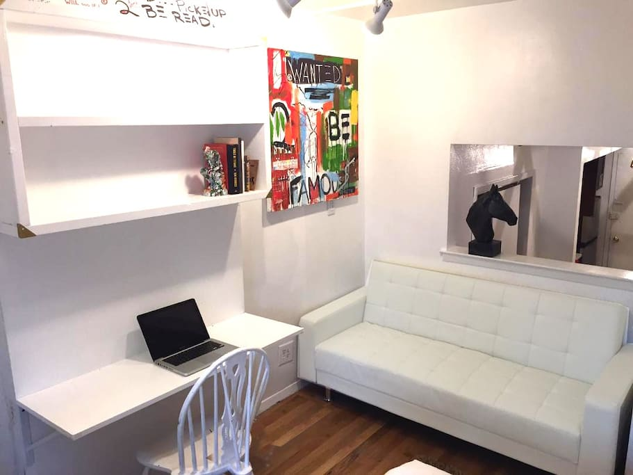 Nice Workspace and White Leather Couch