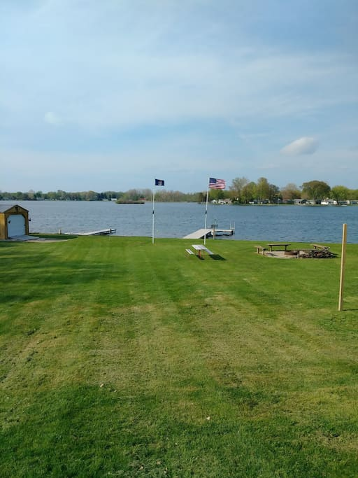 Two docks, fire pit and picnic table