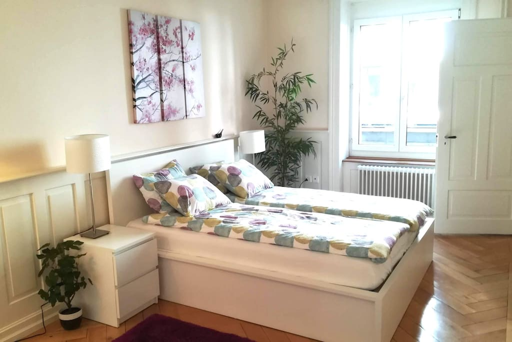 Bedroom 1 - a comfortable double bed for two. Linen and towels are also provided.