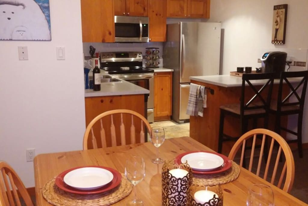 Dining room table seats 6 comfortably.  Easy access to fully equipped kitchen