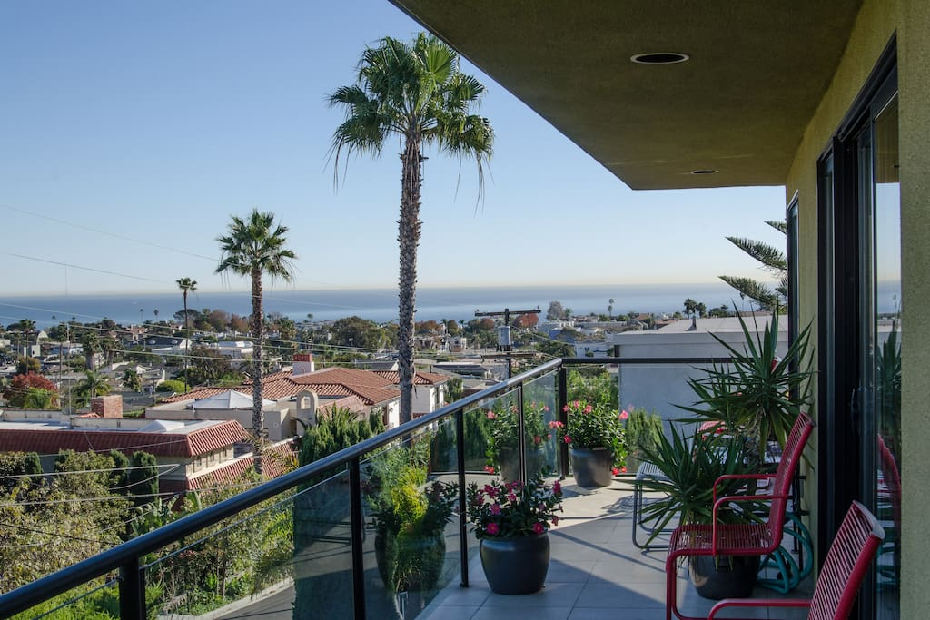 View over Dana  Point to beach and Pacific Ocean.