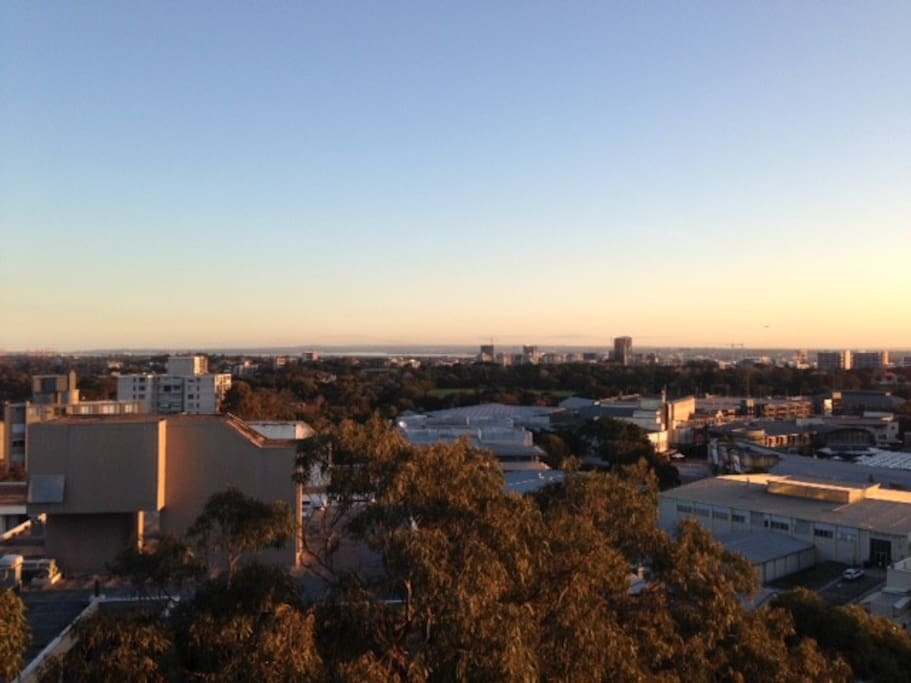 View south from balcony to Botany Bay and Sydney airport