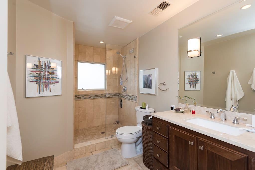Guest bathroom.  Marble shower and floors