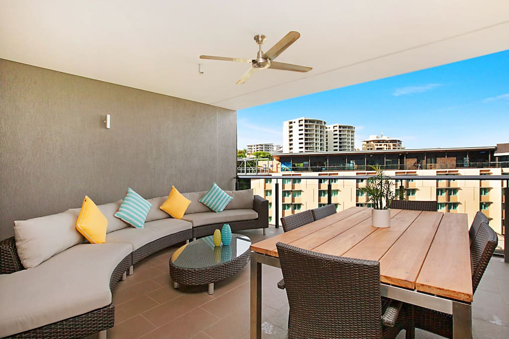 Fabulous large balcony with outdoor lounge and dining setting
