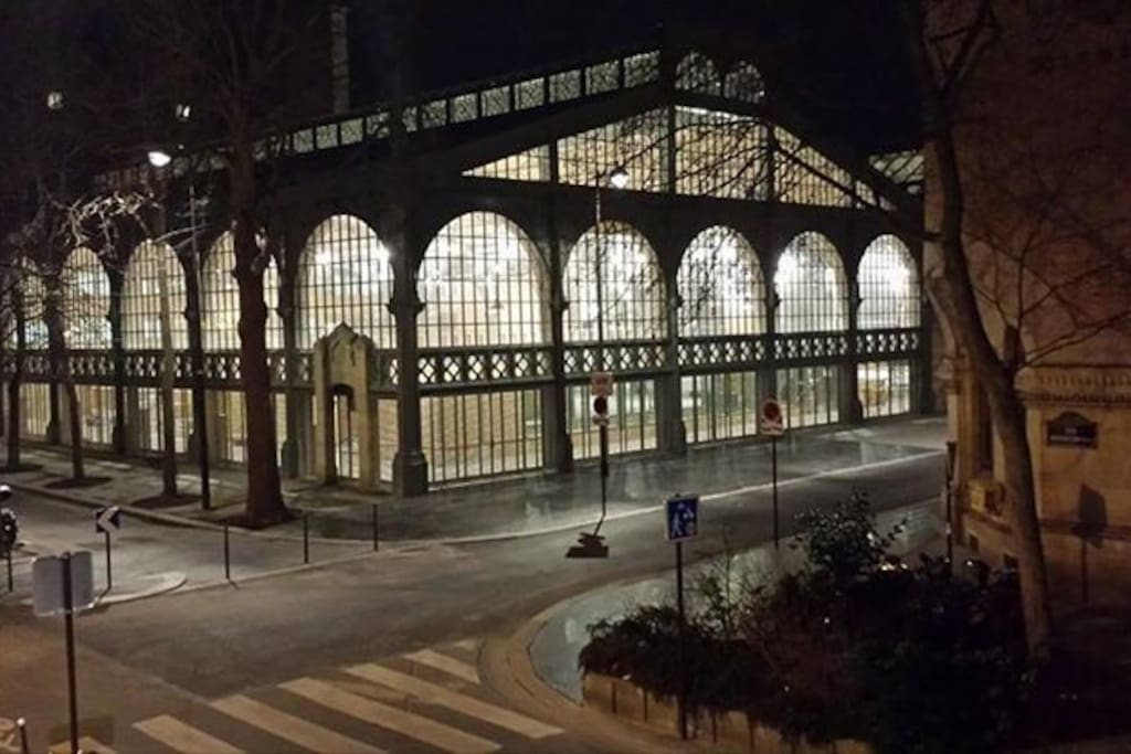Historic Carreau du Temple steel market (now an exhibition hall), facing the apartment