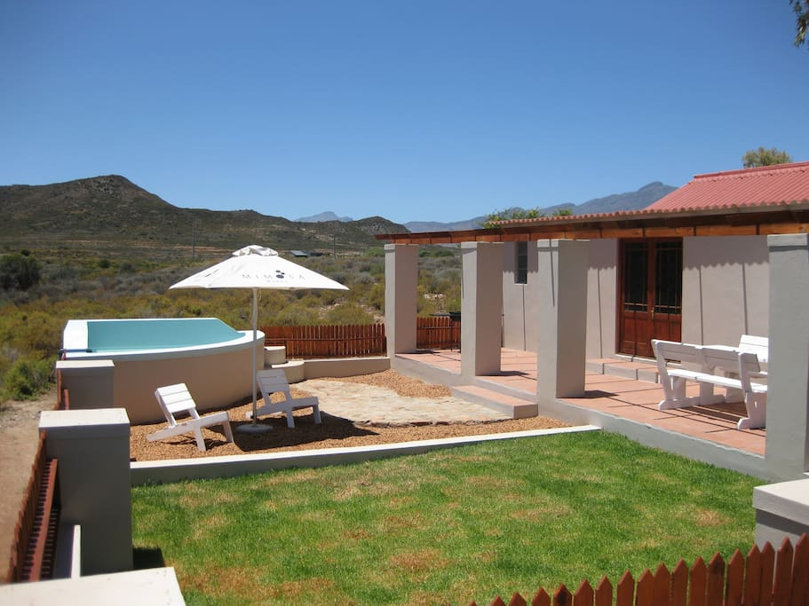 View of the private garden, splash pool and braai area