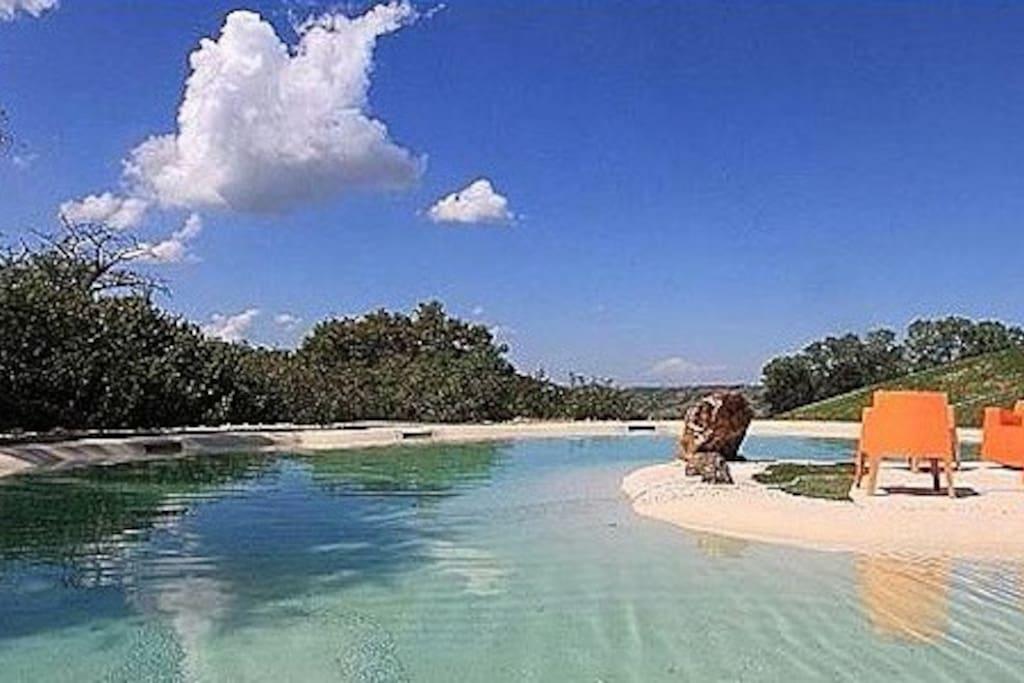 Bio piscina salata, senza cloro, con accesso degradante adatta anche ai bambini più piccoli