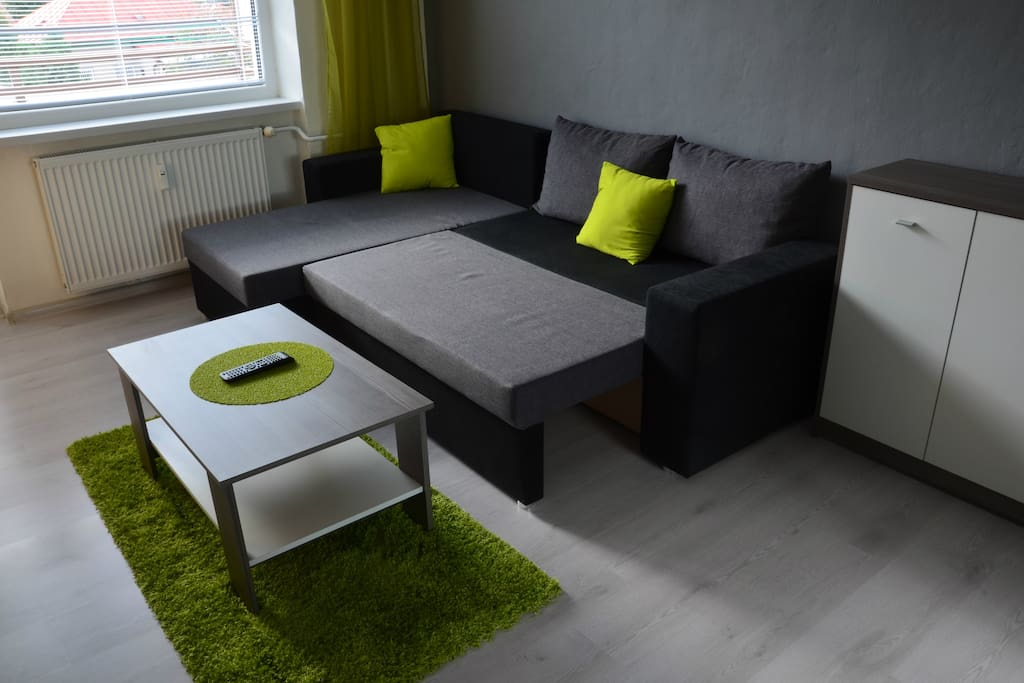 Expanded sofa in living room