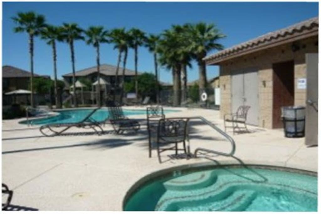 The main pool and hot tub - just across the street!